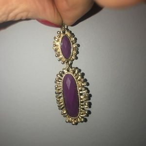 Jewelry - Modern Gold and Plum Faceted Stone Earrings